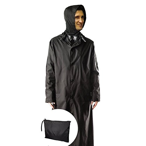 Mens 100% Nylon Long Raincoat - Zip in Hood - With Travel Pouch - X Large - Black