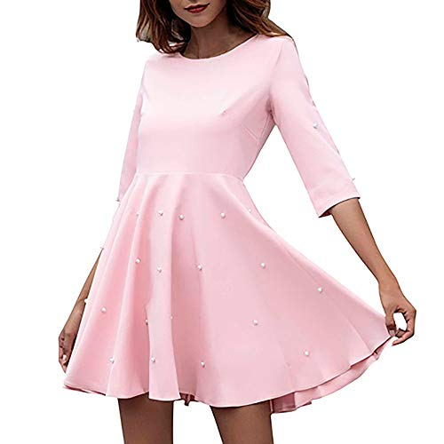 Women Casual Solid A-Line Beading O-Neck Half Sleeve Sexy Mini Daily Dress by iHPH7