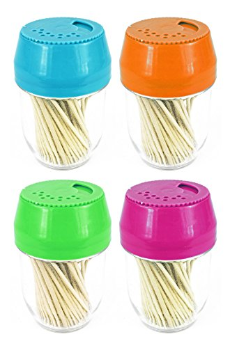 Dispenser Plastic Toothpick (Set of 4 Colorful Toothpick Dispensers - Includes 100 Toothpicks per Dispenser - Assorted Colors Featured Include Pink, Blue, Green, and Orange! - Black Duck Brand)