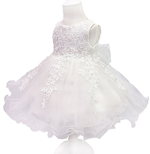 Toddler Baby Girls Lace Flower Christing Pageant Birthday Party Tutu Dress White -