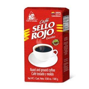 Colombian Coffee Sello Rojo- #1 Coffee Brand in Colombia- Sello Rojo Ground Coffee (Brick Medium Roast) 17.6 Oz Brick