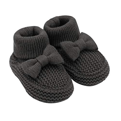 Knit Newborn Booties - Carter's Baby Soft Sole Girl Knit Bootie-Newborn Slipper, Grey, Regular US Infant