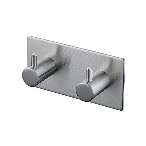 KES Bathroom Lavatory Self Adhesive Double Coat and Robe Hook, Brushed Finish, SUS304 Stainless Steel, A7060H2-2