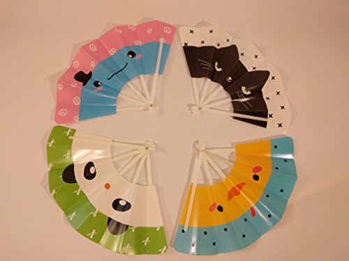 Hand Fans Kids Birthday Party Favors for Kids! Bright Fun & Safe! Chinese Fans Mix 4 ct by BambooFul
