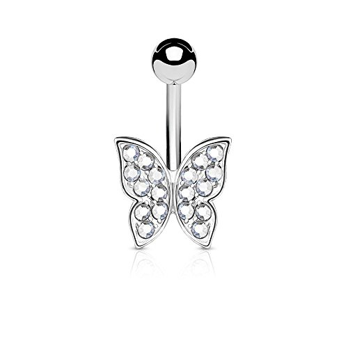 Belly Crystal Butterfly Ring - Dynamique Crystal Paved Butterfly 316L Surgical Steel Belly Button Navel Ring