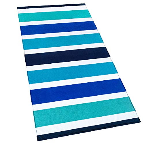 Softerry Ocean Stripes Beach and Pool Towel Printed Cabana 30 x 60 in 100% ()