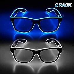 Blue & White Light Up Glasses Glow in The Dark 2 Packs