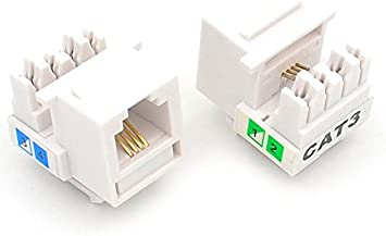 Amazon Com Ubigear 100 Pcs Lots Cat3 Rj11 6p4c Phone Telephone Keystone Jack Cat3 110 H Style Modular White Home Improvement