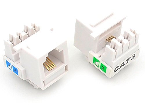 - UbiGear 10 Pcs Lots Cat3 Rj11 6p4c Phone Telephone Keystone Jack Cat3 110 H-Style Modular White