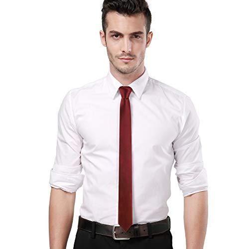Landisun Skinny Tie Silk Tie Burgundy Satin Slim Necktie Exclusive 2 inch
