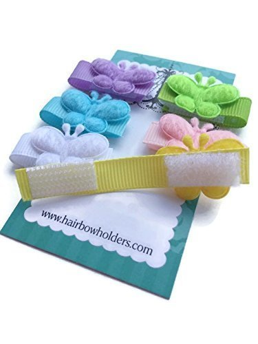 HAIR BOWS Made with VELCRO® brand fasteners for Baby Girl, BEST BABY SHOWER GIFT, Small Soft BUTTERFLY velcro bows, butterflies, pink, lavender, green, white, yellow, blue, Little Bows