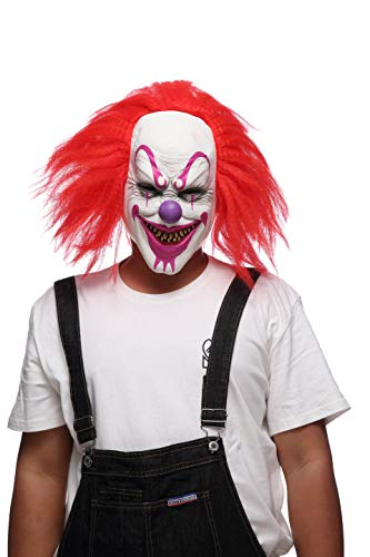 Evil Clown Mask, Halloween Masks for Adults/Mask Latex Horror/Halloween Masks for Men/Halloween Props Scary Red -