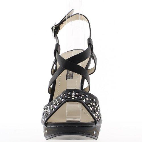 Sandales noires à talons de 12,5cm et plateau de 3cm