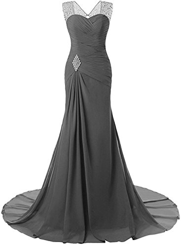 Lily Wedding Womens Mermaid Prom Bridesmaid Dresses 2018 Long Evening Formal Party Ball Gowns FED003 Grey Size14 ()