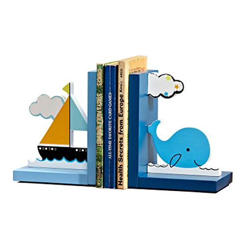 Colorful Wood Bookends for Baby Girl Nursery Room Decor Cartoon Whale/Pink Flower/Pink High Heels/Love Book Stand Rack Girl Bedroom Decor (Blue Whale)