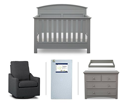 (Serta Ashland 5-Piece Nursery Furniture Set (Serta Convertible Crib, 4-Drawer Dresser, Changing Top, Serta Crib Mattress, Glider),)