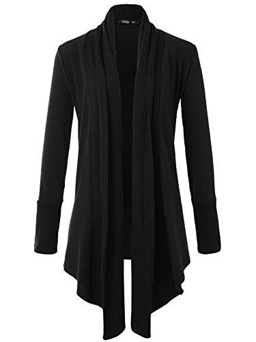 JayJay Women Boyfreind Loose Fit Long Sleeve Open Shawl Long Sweater Cardigan,Black,M