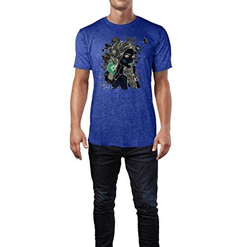 SINUS ART ® Portrait einer jungen Frau mit Blumen im Haar Herren T-Shirts in Vintage Blau Cooles Fun Shirt mit tollen Aufdruck