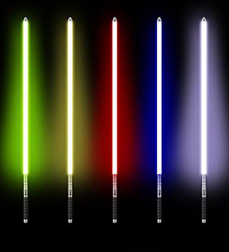 UPSTONE Kybers RGB 11 Colors Changeable Lightsaber Metal Aluminum Hilt Light Saber with 3 Mode Sound Force FX Dueling Lightsaber Black hilt (Basic-SC-Black-RGB) by UPSTONE (Image #3)