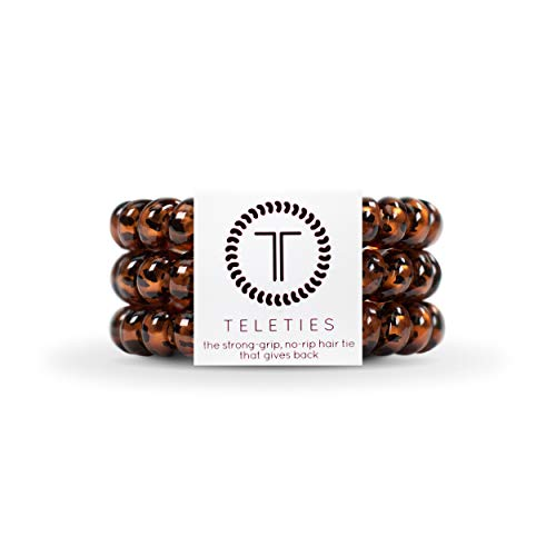 TELETIES Large Tortoise Hair Ties, Hair Coils 3 pack