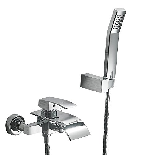 Greenspring Waterfall Wall Mount Bathtub Faucet With Shower Head Bath Tub Mixer Taps Lavatory Bath Shower Faucet with Shower Arm Mount Hole Bathroom Shower System Set Ceramic Valve Included