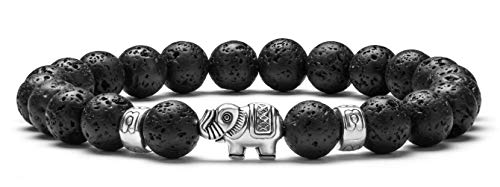 Hamoery Men Women 8mm Lava Rock Beads Bracelet Elastic Natural Stone Yoga Bracelet Bangle,Elephant(Lava Stone)