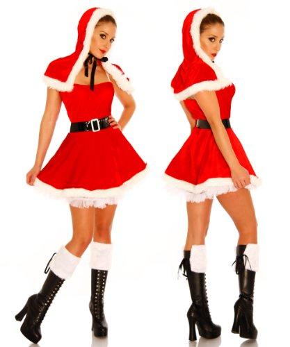 mit S Weihnachtsmann XS 38 in Santa 36 Kostüm Rot Frau für Petticoat Rüschen M Atixo passend Gogo Nikolaus Rot 34 von Minikleid Einheitsgröße Sexy q8txx6