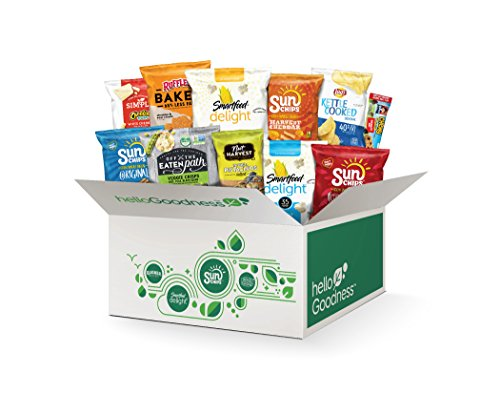 Hello Goodness Snacks, Variety Assortment of Chips, Pretzels, Nuts, Popcorn, Bars and Snacks, 30 Piece Variety Pack by Hello Goodness