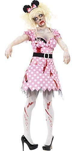 Ladies Zombie Dead Corpse Pink Minnie Mouse Cartoon Halloween Fancy Dress Costume (UK 16-18)