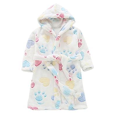 19V78 Autumn Winter children Flannel Bathrobes Nightwear Boys Girls Pajamas Hooded Bathrobe Soft Bath Robe Cute Kids Robe