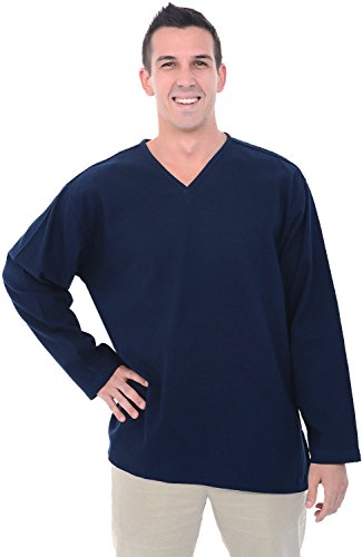 Alexander Del Rossa Mens Cotton Shirt, Long Sleeve V-Neck Top, XL Midnight Blue (A0251NBLXL)