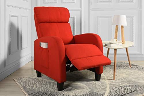 (Living Room Slim Manual Recliner Chair (Red))