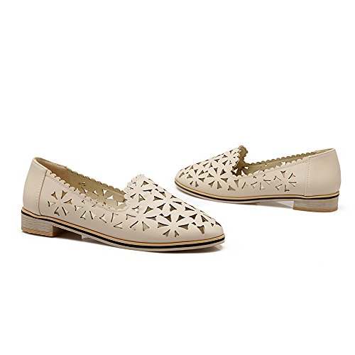 VogueZone009 Women's Pull-On Low-Heels Floral Round-Toe Pumps-Shoes Apricot EkjYmT6A