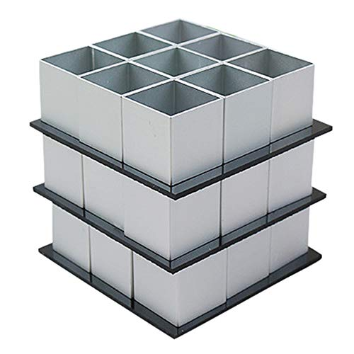 (3D Cake Mold Stainless Steel Aluminum Magic Cube Shaped 3 Layer Cake Dessert Bake Mold 30 Piece Set (Silver))