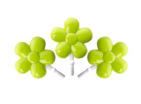 Parete Verde Ufficio : Set di 6 elegante fumetto verde fiore ganci appendiabiti ganci da