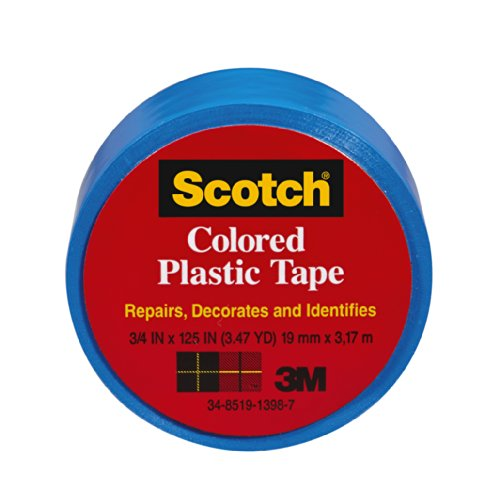 Blue Plastic Tape - Scotch Scotch Colored Plastic Tape, Blue, 3/4 x 125-Inch