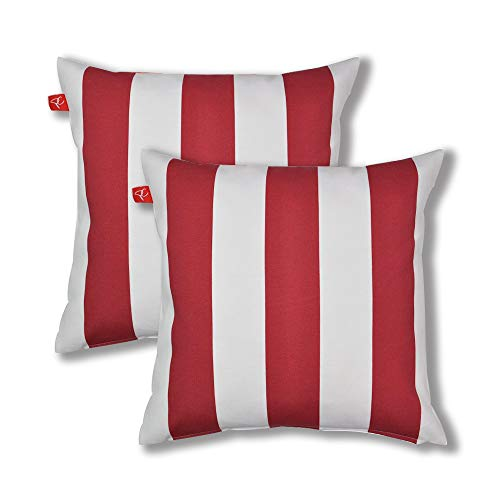 """PacifiCasual Patio Indoor/Outdoor Stripe Red and White Throw Pillow Cushion Cover Decorative Replacement Cushion Case Square 18"""" x 18"""", Set of 2"""