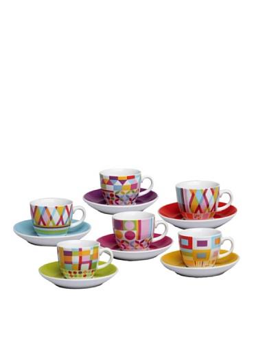 Tognana Colección Iris Policromia 6 Tazas de Café con Plato
