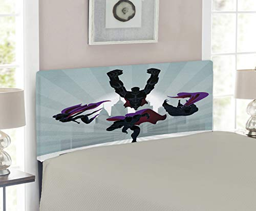 - Lunarable Superhero Headboard for Twin Size Bed, Powerful Team Heroine and Heroes on a Mission to Save The World, Upholstered Decorative Metal Headboard with Memory Foam, Dark and Pale Blue Purple