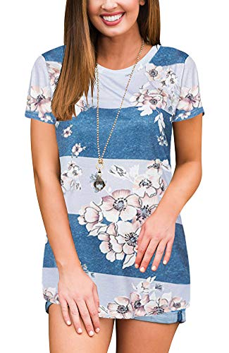 Womens Floral Print Blouse Tops Short Sleeve Blue and White L