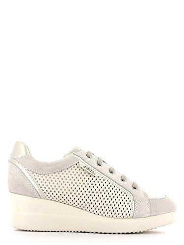 Geox - Zapatos de cordones de Piel para mujer Blanco blanco Off White