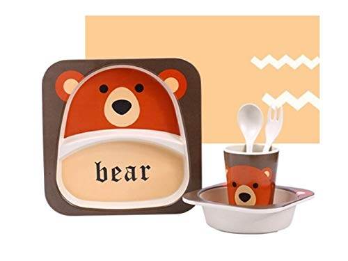 Yuchoi Contemporary Bamboo Fiber Cartoon Animal Dish Children Plate Fork Spoon Cup Set for Kids(Beer) by Yuchoi