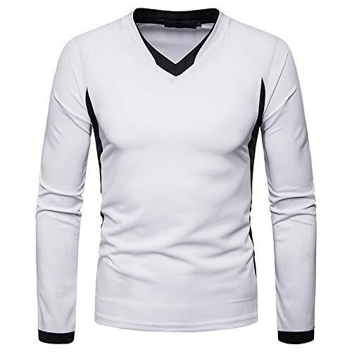 iLXHD 2018 Men's Shirt Long Sleeve Irregular Patchwork Henry Collar Sweartshirt(White,US S/CN M) -