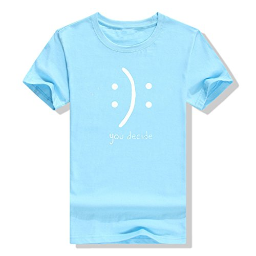 Hoyod Womens Graphic Tees Cute Funny T Shirts Casual Short Sleeve Cotton T-Shirts Summer Tops Light Blue S