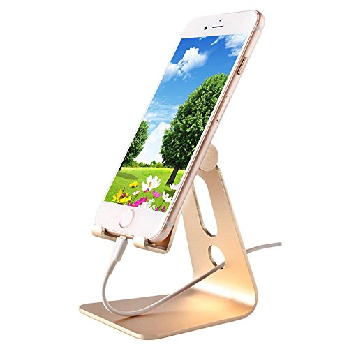 Price comparison product image Tablet Stand Universal Multi-Angle Rotatable Aluminum Cell Phone Tablet Desktop Cradle Holder Dock for iPhone 7 6 6s Plus 5 5s 5c iPad Pro Air 2 Samsung Galaxy S7 S6 Edge Plus S5 S4 S3 (Gold)