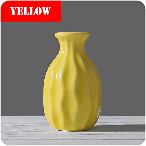 Kangsanli Ceramic Vase Tower Vase For Home Decoration Photo Prop Fashion Ceramic Bottle Green Plant Ceramic Flower Vases (yellow) -