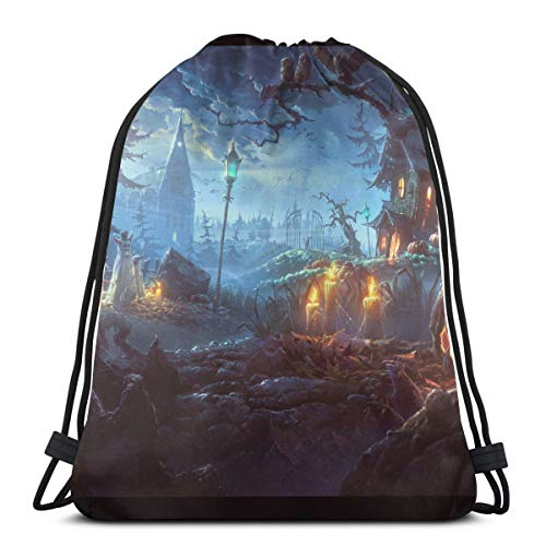 KIENGG Halloween Themed Wallpaper Unisex Drawstring Beam Port Bag,Fashion Gym Outdoor Sports Portable Travel Backpack Dust Storage Shoulders Bags