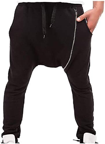 VITryst メンズ傾斜ジッパー巾着中西ハーレムパンツスウェットパンツ