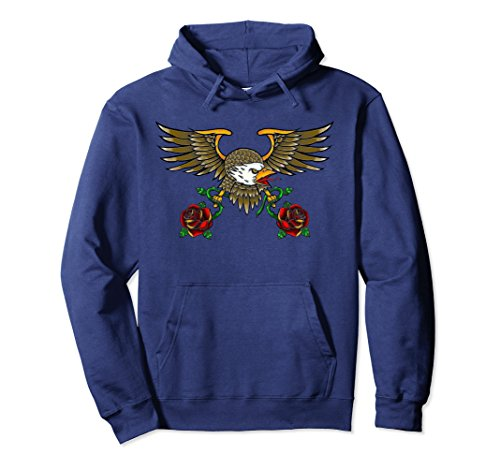 Unisex Bald Eagle American Traditional Tattoo Style Hoodie Medium Navy -