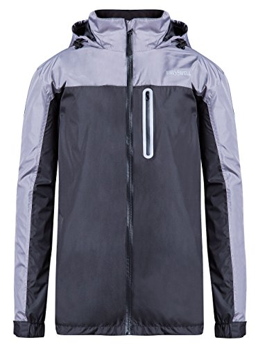 Rain Coat for Men Reflective Color Block Waterproof Hooded Rainwear New Arrival SWISSWELL